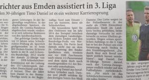 Dammer Schiedsrichter Timo Daniel assistiert jetzt in der 3. Liga!
