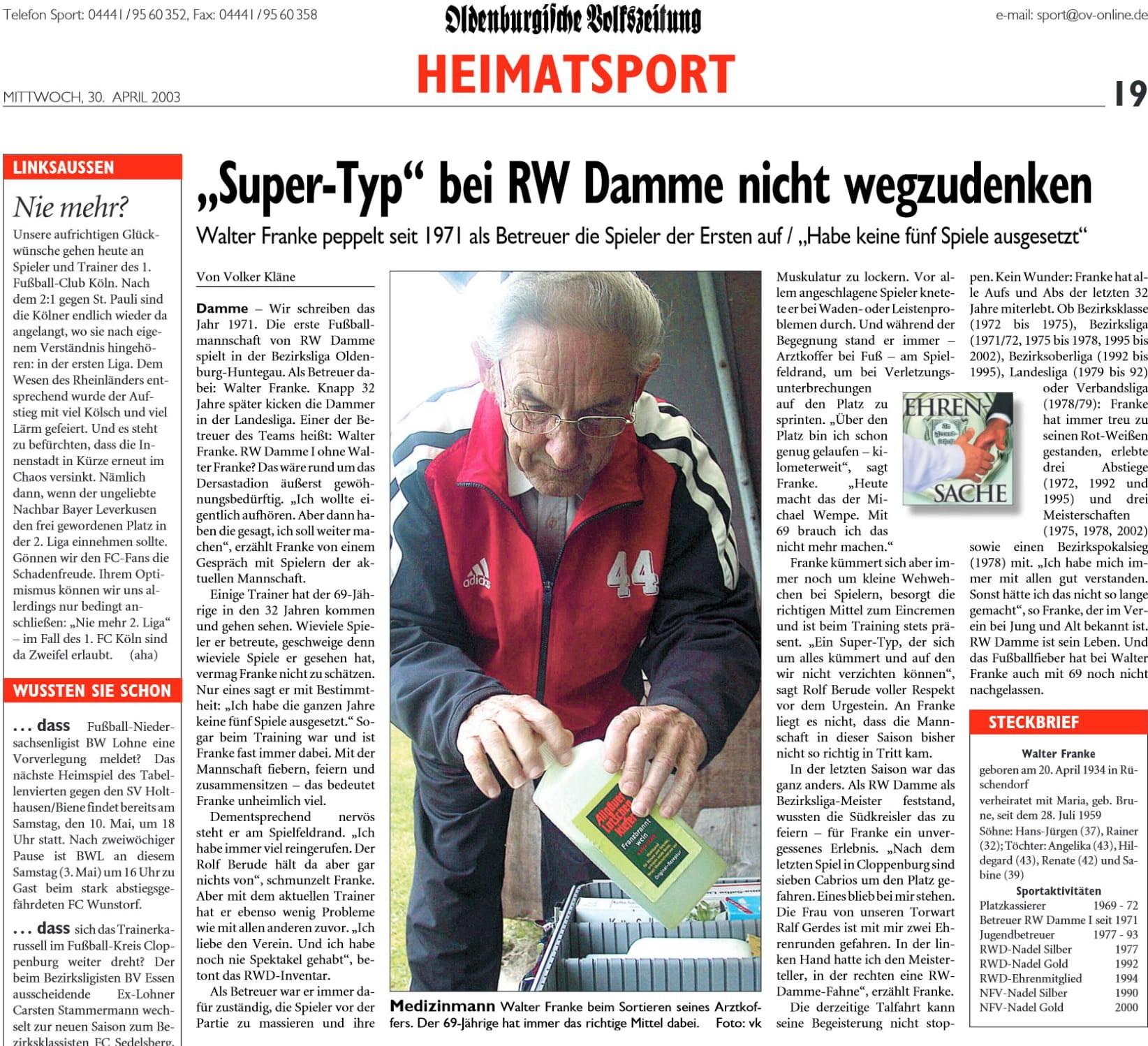 RW Damme trauert um den Verlust von Walter Franke